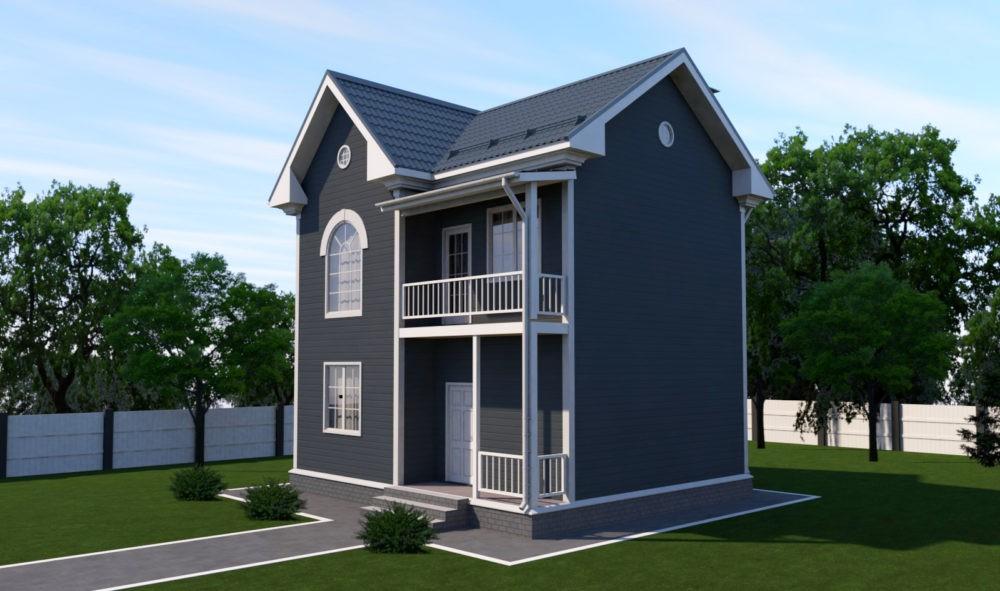 2-этажный дом 7х9  до 100 м2 по проекту ИНДИГОЛИТ