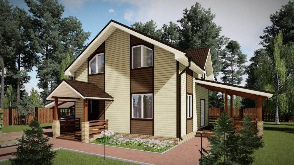 2-этажный дом 7x8 3 спальни до 110 м2 по проекту САНИДИТ