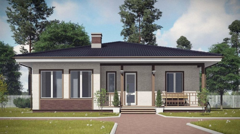 1-этажный дом 11x11 3 спальни до 120 м2 по проекту СЕРПЕНТИН