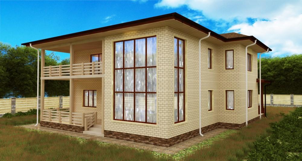 2-этажный дом 13х14 3 спальни до 340 м2 по проекту ГЕССОНИТ