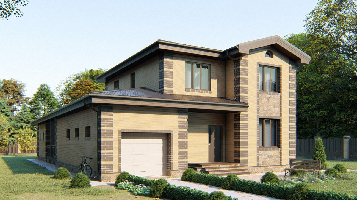 2-этажный дом 11,09х11,61 5 спален до 180 м2 по проекту ТИГРОВЫЙ ГЛАЗ