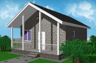 1-этажный дом 7х8 1 спальня до 60 м2 по проекту ГАГАТ